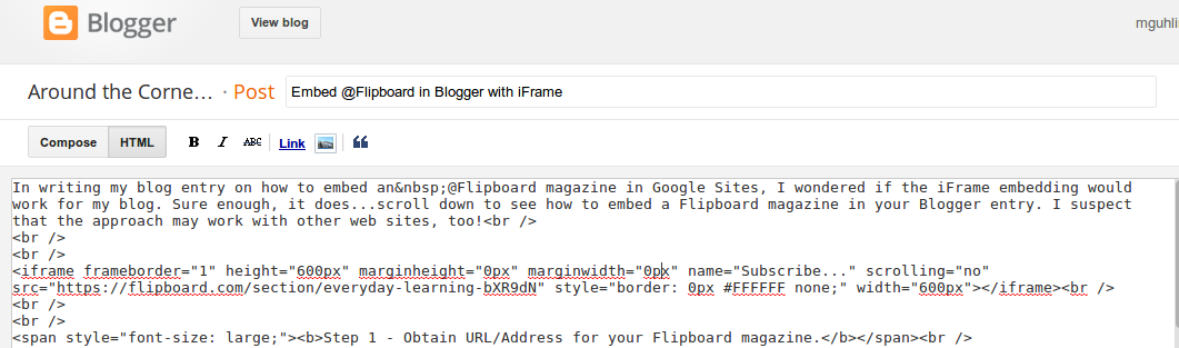 Embed Flipboard In Blogger With Iframe Around The Corner