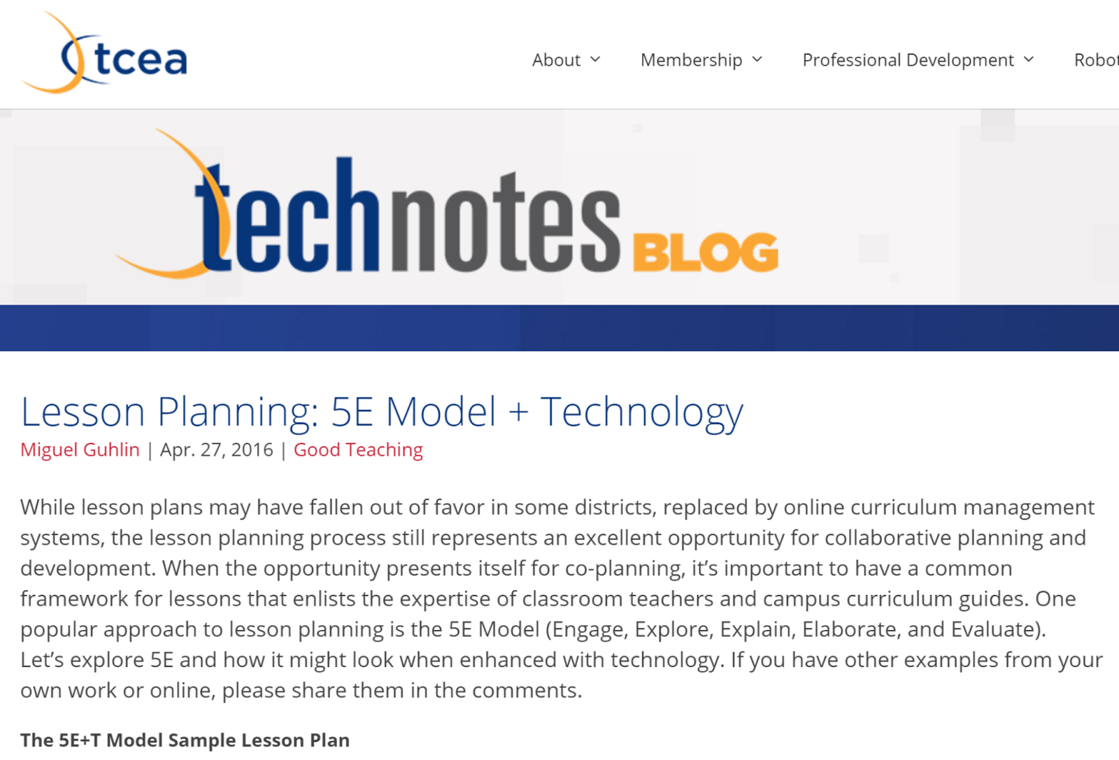 Tcea around the corner page 3 one popular approach to lesson planning is the 5e model engage explore explain elaborate and evaluate lets explore 5e and how it might look when fandeluxe Image collections